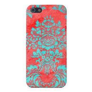 Vintages Blumenmuster-Geschenk-rotes Blau Hülle Fürs iPhone 5