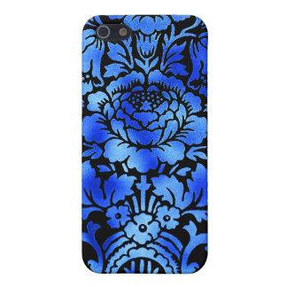 Vintages Blumenmuster-Geschenk-Schwarz-Blau iPhone 5 Schutzhüllen
