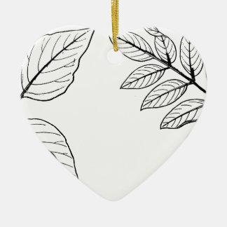 Vintages botanisches Blätter Keramik Ornament