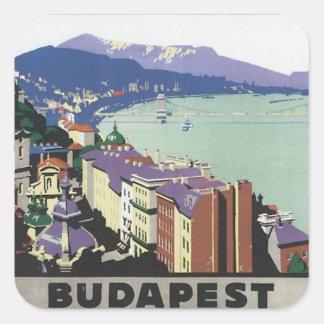 Vintages Budapest Ungarn Quadratischer Aufkleber