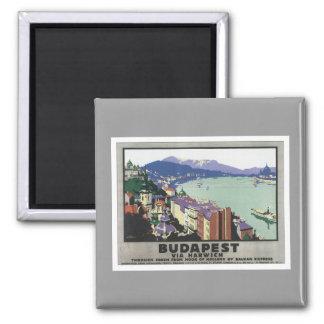 Vintages Budapest Ungarn Quadratischer Magnet