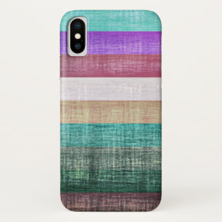 Vintages buntes Streifen-Muster iPhone X Hülle