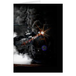 Vintages Dampf-Motor-Schwarz-sich fortbewegender Grußkarte