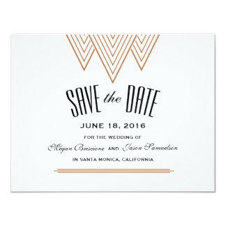 Vintages Diamant-Schwarzes u. Kupfer Save the Date 10,8 X 14 Cm Einladungskarte