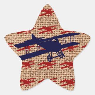 Vintages Doppeldecker-Propeller-Flugzeug auf Stern-Aufkleber