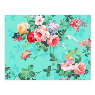 Vintages elegantes rosarotes gelbes Rosen-Muster Postkarte