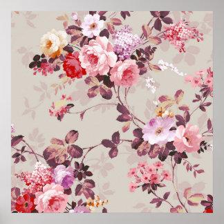 Vintages elegantes rosarotes lila Rosen-Muster Poster