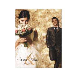 Vintages Etzeichen-Hochzeits-Foto-Andenken Galerie Gefaltete Leinwand