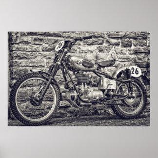 Vintages europäisches Motocross-Motorrad Poster