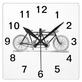 Vintages Fahrrad errichtet für zwei/Tandemfahrrad Quadratische Wanduhr