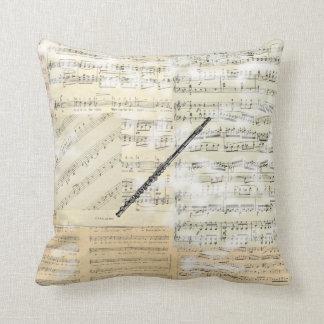 Vintages Flöten-Musik-Kissen Zierkissen