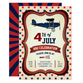 Vintages Flugzeug 4. von Juli-GRILLEN Party 12,7 X 17,8 Cm Einladungskarte
