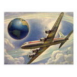 Vintages Flugzeug-Fliegen um die Welt in den Postkarten