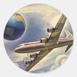 Vintages Flugzeug-Fliegen um die Welt in den Runder Aufkleber