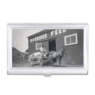 Vintages Flussufer füttern MühlBauern und -pferd Visitenkarten Etui