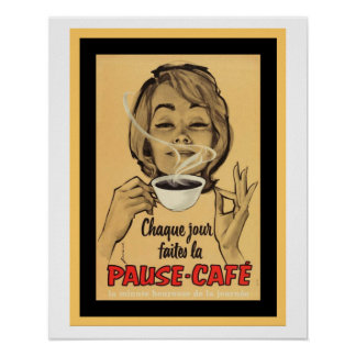 Vintages französisches Plakat für Pausen-Café