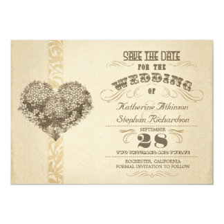 Vintages gealtertes typografisches Save the Date 12,7 X 17,8 Cm Einladungskarte