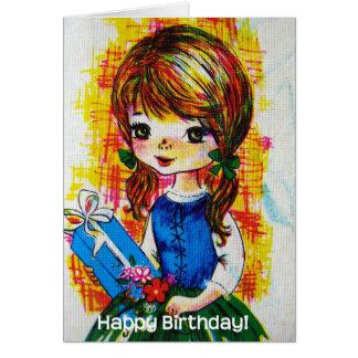 Vintages Geburtstags-Mädchen Grußkarten