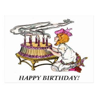 Vintages Geburtstags-Mädchen mit Kuchen Postkarten