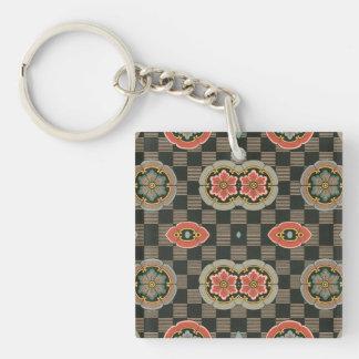 Vintages geometrisches Blumen auf Karos Schlüsselanhänger