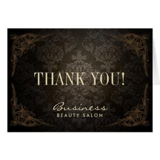 Vintages gerahmtes Damast-Salon-Geschäft danken Mitteilungskarte