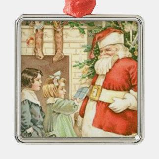 Vintages Geschenk für Weihnachtsmann Silbernes Ornament