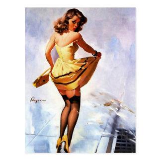 Vintages Gil Elvgren Spritzen im Postkarte