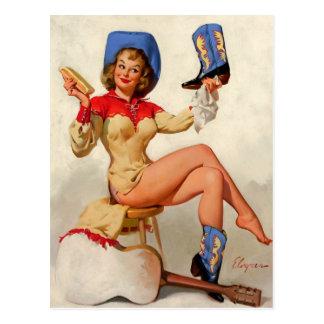 Vintages Gil Elvgren Stiefelshine-Land-Button Postkarte