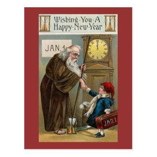 Vintages glückliches neues Jahr Postkarte