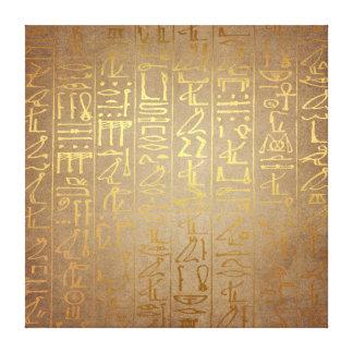 Vintages Goldägyptischer Hieroglyphen-Papier-Druck Gespannte Galeriedrucke