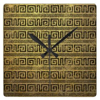 Vintages Goldgriechisches Windungs-Muster Quadratische Wanduhr