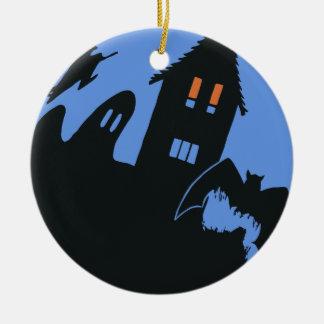 Vintages Halloween, beängstigendes Spuk Haus und Keramik Ornament