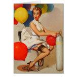 Vintages Helium Party steigt Elvgren Button herauf Grußkarte