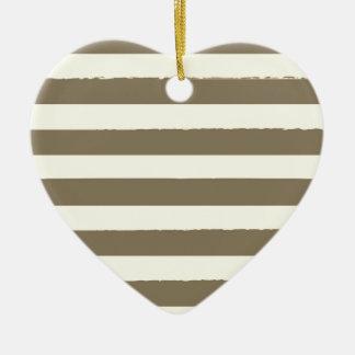 Vintages Herz mit Streifen Keramik Ornament