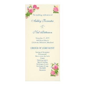 Vintages Hochzeits-Programm der Blumen-| der Werbekarte
