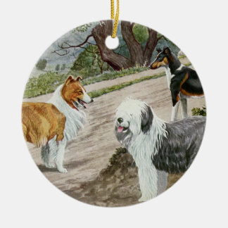 Vintages Hundetrio Keramik Ornament