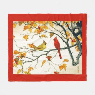 Vintages japanisches Zeichnen, Kardinäle auf einer Fleecedecke