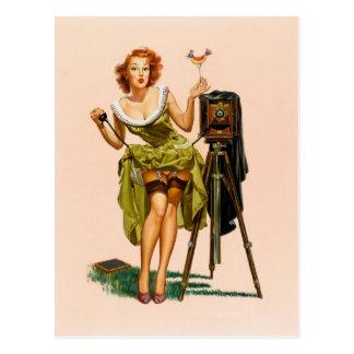 Vintages KameraPinupmädchen Postkarten