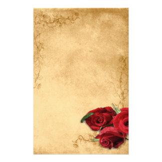 Vintages Karamell Brown u. Rosen-Hochzeit Briefpapier