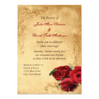 Vintages Karamell Brown u. Rosen-Hochzeit Karte
