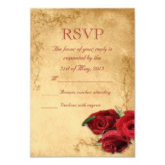 Vintages Karamell Brown u. Rosen-Hochzeit UAWG 8,9 X 12,7 Cm Einladungskarte