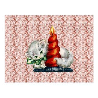 Vintages Kätzchen mit Kerze Postkarte