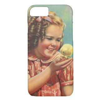 Vintages Kind, glückliches Lächeln, Mädchen mit iPhone 8/7 Hülle