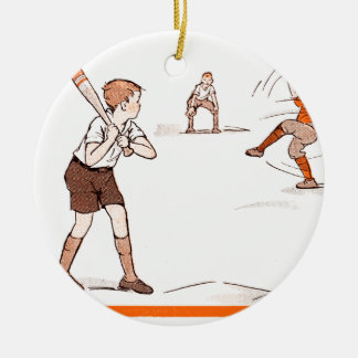 Vintages Kinderjungen-Baseball-Spiel Keramik Ornament