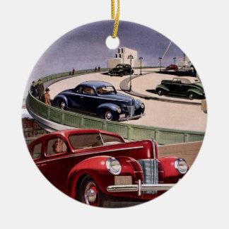 Vintages klassisches Sedan-Auto-Fahren auf die Keramik Ornament