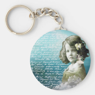 Vintages kleines Mädchen mit Wächterengel Schlüsselanhänger