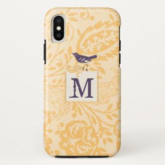 Vintages korallenrotes Auberginen-Damast-Monogramm iPhone X Hülle