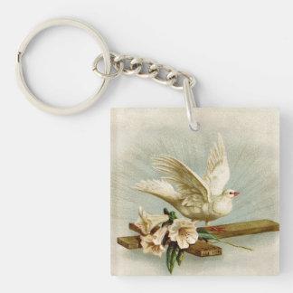 Vintages Kreuz und Taube Schlüsselanhänger