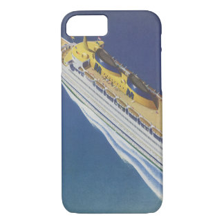 Vintages Kreuzfahrt-Schiff im Ozean gesehen von iPhone 8/7 Hülle