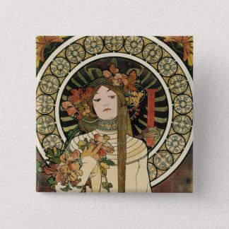 Vintages Kunst Nouveau Mucha Trappestine Plakat Quadratischer Button 5,1 Cm